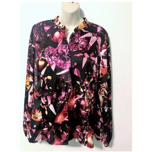 Worthington XL Floral Silky Blouse Long Sleeve